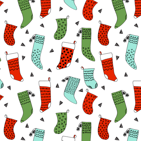 Stocking xmas stocking christmas red and green mint for Cute childrens fabric