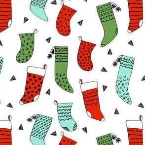 stocking // xmas stocking christmas red and green mint kids cute christmas fabric