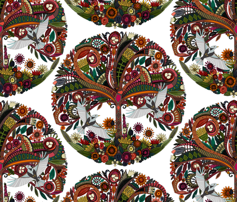 tree of life white fabric by scrummy on Spoonflower - custom fabric