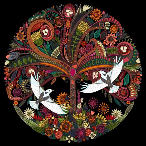 tree of life black swatch fabric by scrummy on Spoonflower - custom fabric