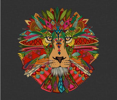 lion lead linen yard panel fabric by scrummy on Spoonflower - custom fabric