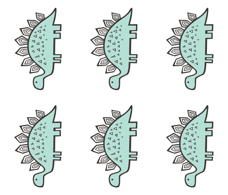 Stegosaurus Dinosaur Pillow Plush Plushie Softie Cut & Sew fabric by caja_design on Spoonflower - custom fabric