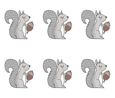 Squirrel  Pillow Plush Plushie Softie  Cut & Sew fabric by caja_design on Spoonflower - custom fabric