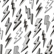 Bolt Bolts Lighting Comic Superhero Black & White Grey