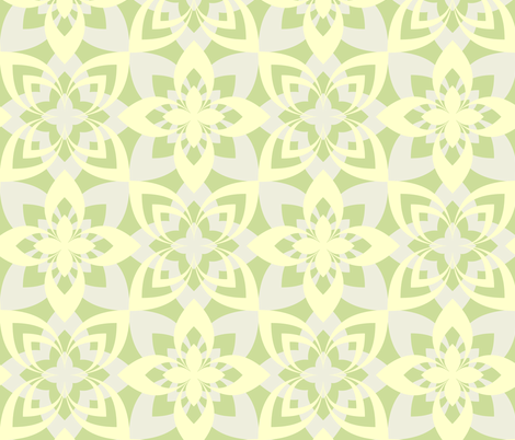 Eight Leaf Flower - Yellow Green fabric by zuzana_licko on Spoonflower - custom fabric