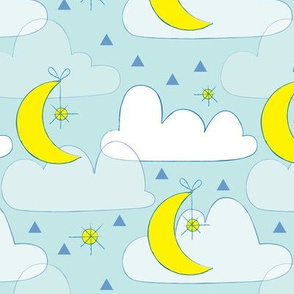 moon, stars and clouds on blue