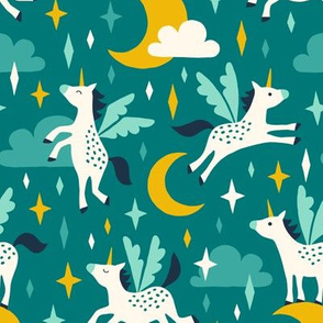 Unicorns in the sky in turquoise
