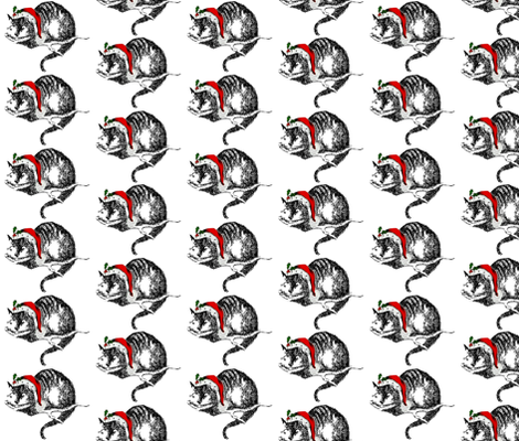 Cheshire Cat Santa Hat Christmas fabric by 13moons_design on Spoonflower - custom fabric