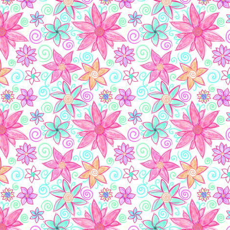 Project 42 | Bohemian Flora | Hand Drawn Flowers fabric by bohobear on Spoonflower - custom fabric