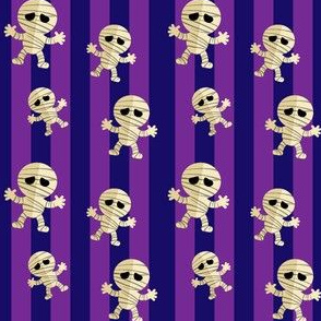 Halloween Cute Dancing Mummy  Monsters on Orange Stripes