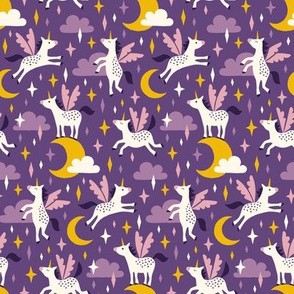 Unicorns in the sky in purple (small)