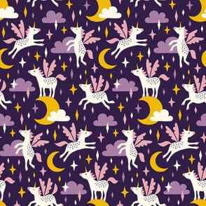 Unicorns in the sky in purple (small/dark)