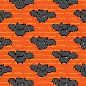 Halloween Cute Bats Orange Stripes