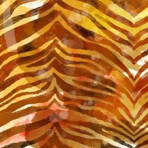 Watercolor Tiger Animal Print Striped Pattern