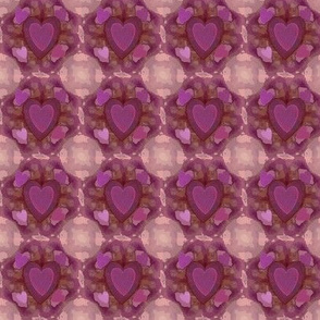 Tie-dyed Hearts, pink, fushia, purple, violet, burnt orange