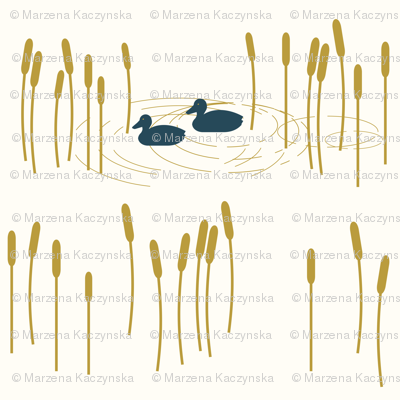 Ducks in a pond - mustard and navy