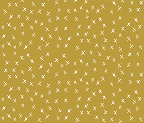 Crosses - mustard stars golden yellow  fabric by sunny_afternoon on Spoonflower - custom fabric