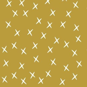 Crosses - mustard stars golden yellow