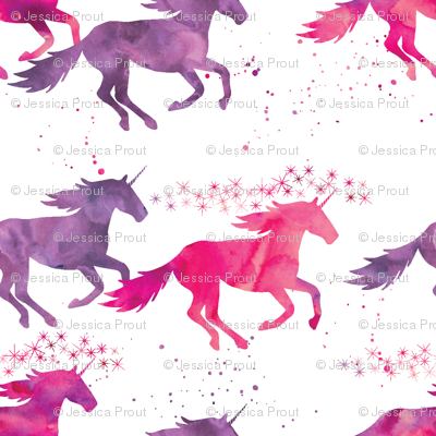 watercolor unicorns (small scale) || pink & purple multi colored
