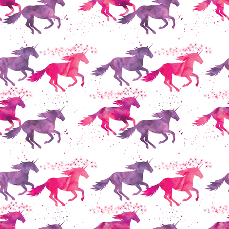 watercolor unicorns (small scale) || pink & purple multi colored fabric by littlearrowdesign on Spoonflower - custom fabric