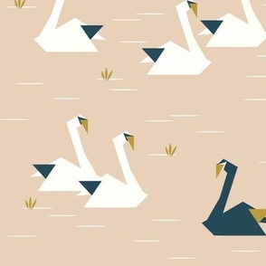 Swans in a pond - nude navy and mustard || by sunny afternoon