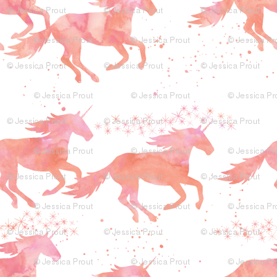 watercolor unicorns in peach