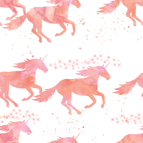 watercolor unicorns in peach fabric by littlearrowdesign on Spoonflower - custom fabric