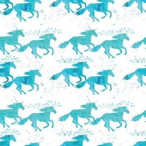 watercolor unicorns (small scale) || aqua