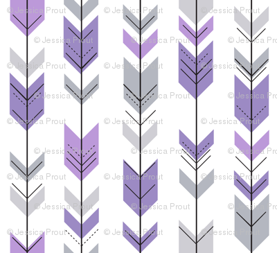fletching arrows || grey and purple