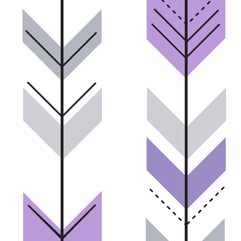 fletching arrows || grey and purple fabric by littlearrowdesign on Spoonflower - custom fabric