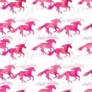 watercolor unicorns (small scale) || pink