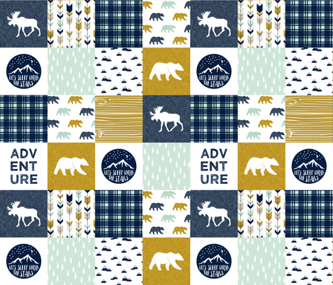 The Happy Camper Wholecloth V2 || navy and mustard fabric by littlearrowdesign on Spoonflower - custom fabric
