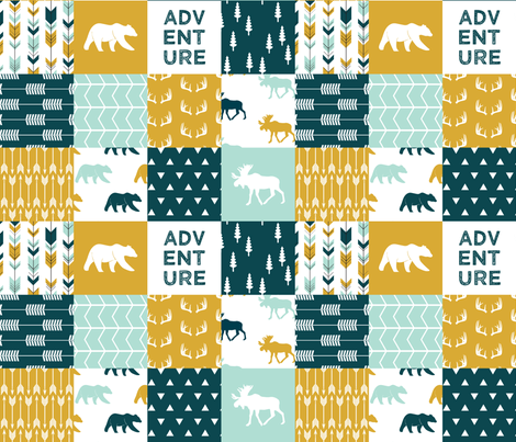 the yellowstone collection || wholecloth quilt top fabric by littlearrowdesign on Spoonflower - custom fabric