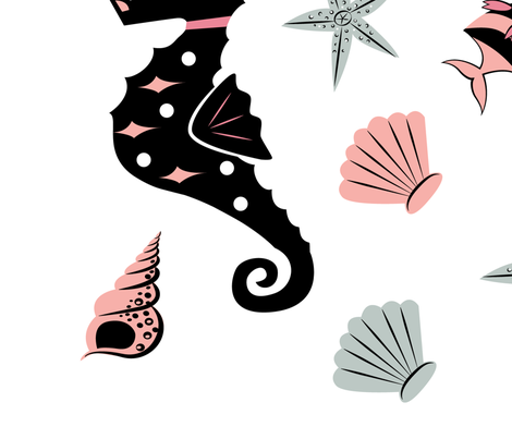 Mermaid Appliques fabric by mintgreensewingmachine on Spoonflower - custom fabric