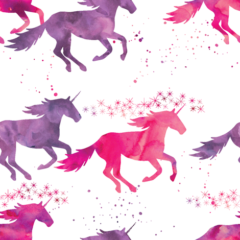 watercolor unicorns || pink & purple multi colored fabric by littlearrowdesign on Spoonflower - custom fabric