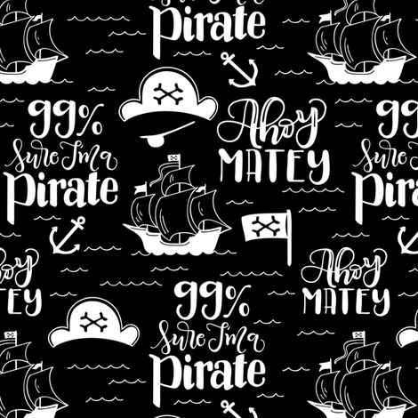 Pirate - Black background fabric by howjoyful on Spoonflower - custom fabric