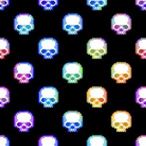 Rainbow Pixel Skulls