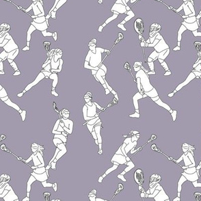 Lacrosse Players on Pale Purple