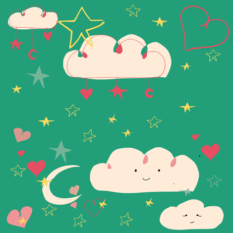 cute happy clouds fabric by bruxamagica on Spoonflower - custom fabric