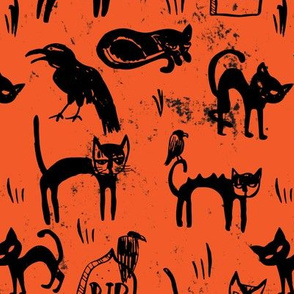 Black Cats and Ravens on Orange Grit