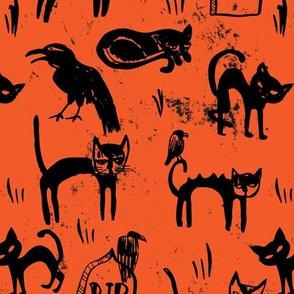 Black Cats and Ravens on Orange Grit