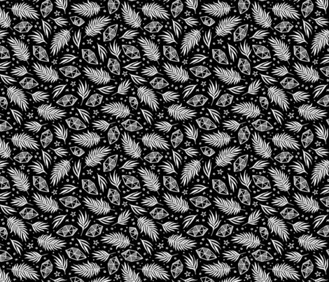 Diamond Flora - Black fabric by khubbs on Spoonflower - custom fabric