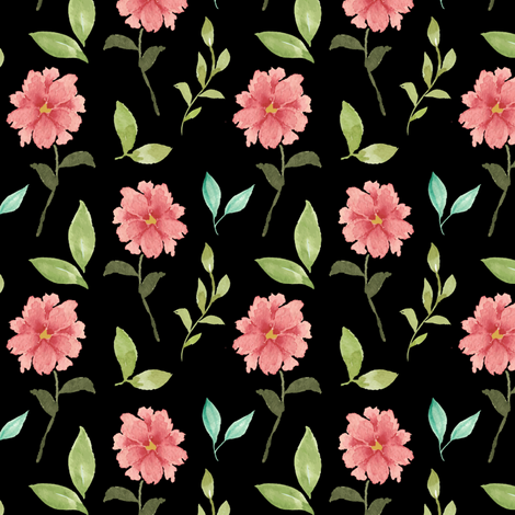 Flowers and leaves on black fabric by mintpeony on Spoonflower - custom fabric