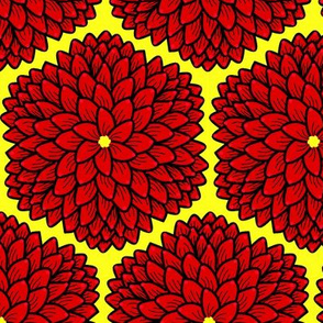 Red Chrysanthemums on yellow