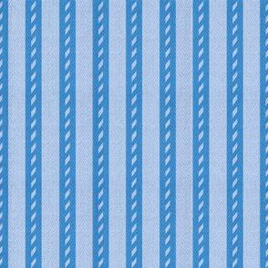 Bicolour Blue Stripes on Herringbone