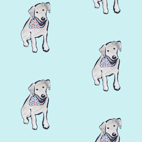Black Labrador Puppy Cherry Bandana Aqua fabric by sleepingdogquilts on Spoonflower - custom fabric
