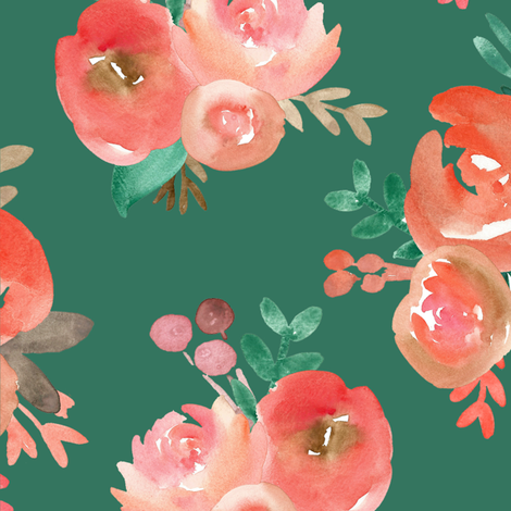 Christmas Watercolor Floral  fabric by smallhoursshop on Spoonflower - custom fabric