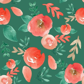 Holiday red green watercolor  Floral on Green