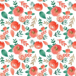 warm red and green holiday watercolor floral
