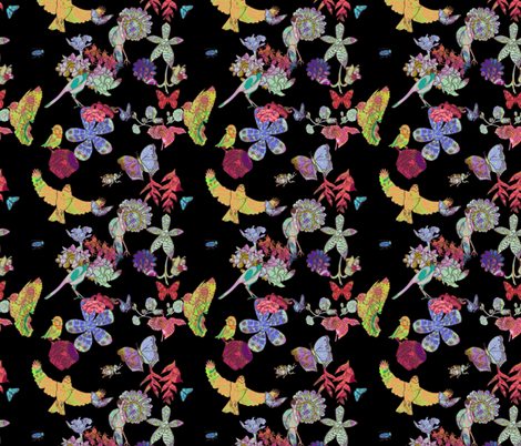 Ghana Fantastic Floral Black Petite fabric by bloomingwyldeiris on Spoonflower - custom fabric
